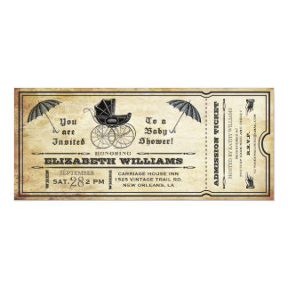 "Vintage Baby Shower Ticket Invitation 4"" X 9.25"" Invitation Card"