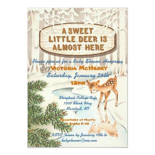 Vintage Baby shower Winter woodland Deer Invites | Zazzle