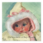 "Vintage Baby Sprinkle, Cute Girl in Faux Fur Coat 5.25"" Square Invitation Card"