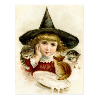 Vintage Baby Witch and kittens at Halloween Postcard