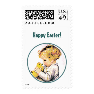 Vintage Baby with Chick. Easter Postage Stamps