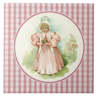 Vintage Baby with Chicks.Gift Ceramic Tiles