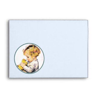 Vintage Baby with Duckling. Easter Envelopes