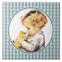 Vintage Baby with Duckling. Gift Ceramic Tiles