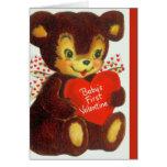 Vintage Baby's 1st Valentine's Day Teddy Bear Card