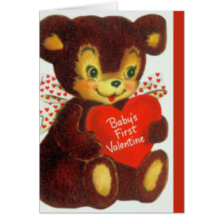 Vintage Baby's 1st Valentine's Day Teddy Bear Greeting Card