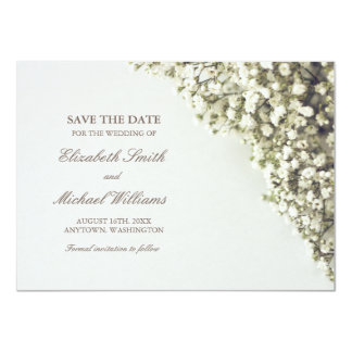 Vintage Baby's Breath Wedding Save the Date Card