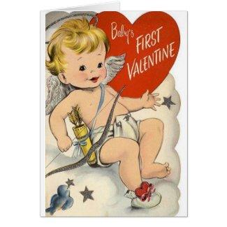 Vintage Baby's First Valentine's Day Card