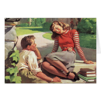 Vintage Back to School, College Coed Students Greeting Card