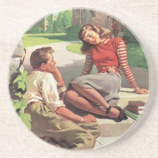 Vintage Back to School, College Coed Students Drink Coaster