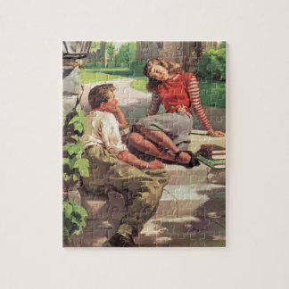 Vintage Back to School, College Coed Students Jigsaw Puzzle