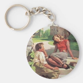Vintage Back to School, College Coed Students Keychains