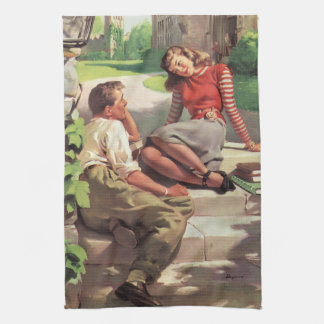 Vintage Back to School, College Coed Students Kitchen Towels