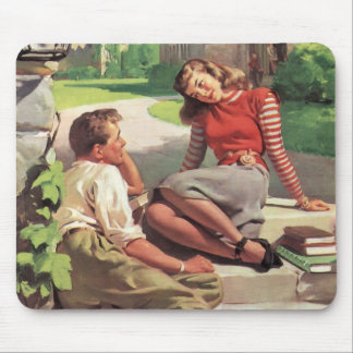 Vintage Back to School, College Coed Students Mouse Pad