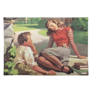 Vintage Back to School, College Coed Students Cloth Placemat