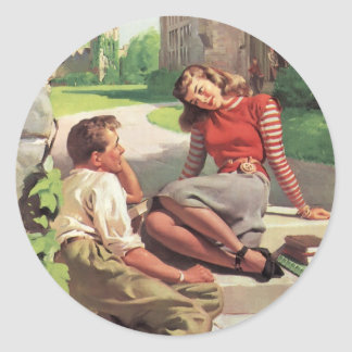 Vintage Back to School, College Coed Students Round Stickers