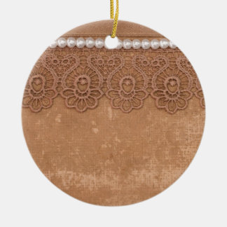 vintage background with lace ceramic ornament