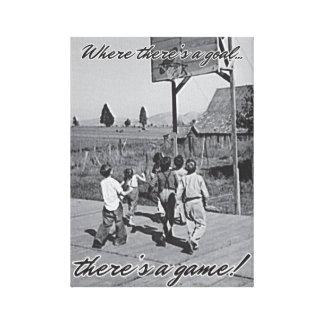 Vintage Backyard Basketball Canvas Wrap