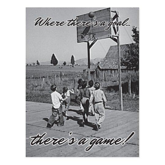 Vintage Backyard Basketball Postcard