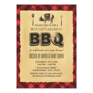 Vintage Backyard BBQ Housewarming Party 5x7 Paper Invitation Card