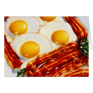 Vintage Bacon and Eggs Bacon Strips Sunny Side Up Card