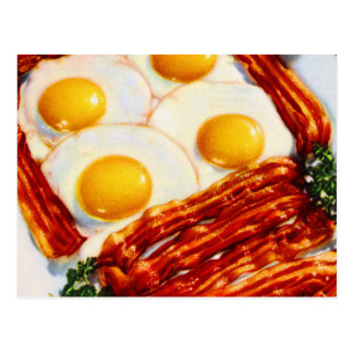 Vintage Bacon and Eggs Bacon Strips Sunny Side Up Postcard