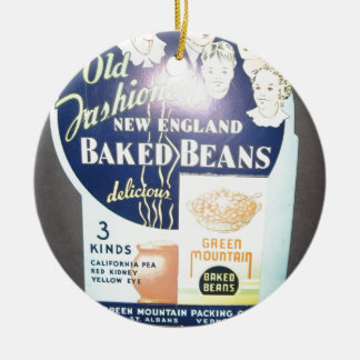 Vintage Baked Beans Double-Sided Ceramic Round Christmas Ornament
