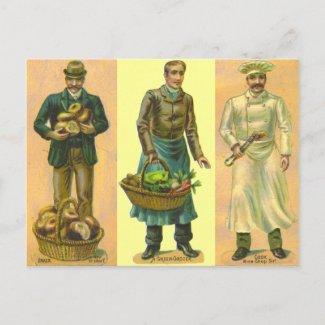 Vintage Baker Grocer Cook postcard