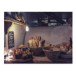 Vintage bakery and pastry shop interior design postcard