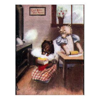 Vintage Baking Bears Postcard