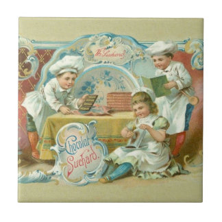 Vintage Baking with Chocolate Advertising Ceramic Tile