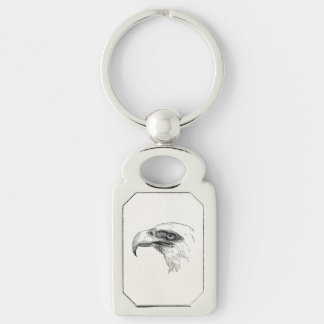 Vintage Bald Eagle Bird Head Personalized Eagles Silver-Colored Rectangular Metal Keychain