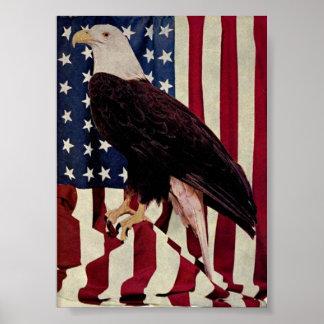Vintage Bald Eagle on American Flag 4 July Poster