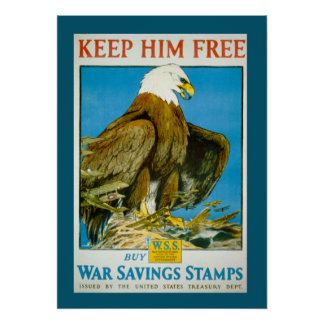 Vintage Bald Eagle Savings Bonds War Poster
