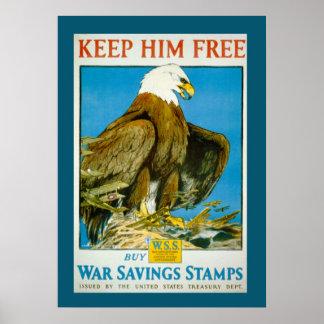 Vintage Bald Eagle Savings Bonds War Poster