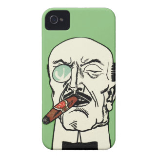 Vintage Bald Gentleman with Cigar and Monocle iPhone 4 Case-Mate Case
