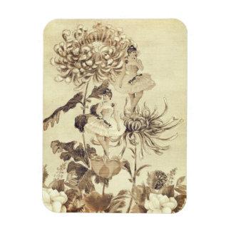 Vintage Ballerina Dance Grunge Flowers Rectangular Photo Magnet