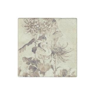 Vintage Ballerina Dance Grunge Flowers Stone Magnet