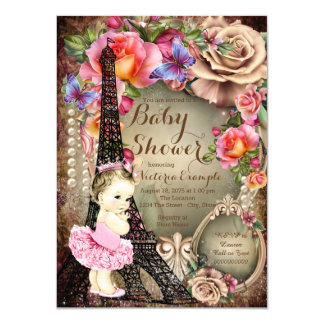 Vintage Ballerina Eiffel Tower Paris Baby Shower Card