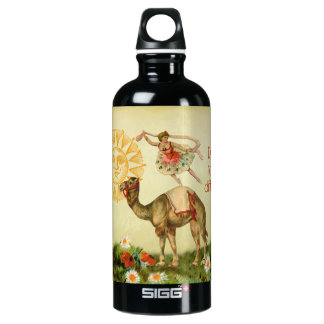Vintage Ballerina, Flowers, and Camel Collage Aluminum Water Bottle