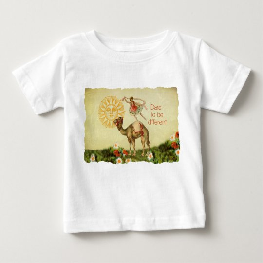 Vintage Ballerina, Flowers, and Camel Collage Baby T-Shirt
