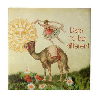 Vintage Ballerina, Flowers, and Camel Collage Ceramic Tile