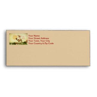 Vintage Ballerina, Flowers, and Camel Collage Envelopes