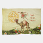 Vintage Ballerina, Flowers, and Camel Collage Kitchen Towels