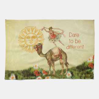 Vintage Ballerina Flowers and Camel Collage Kitchen Towels