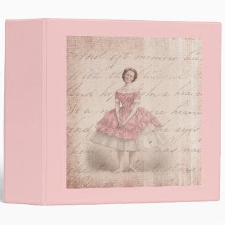 Vintage Ballerina Girl in a Pink Tutu 3 Ring Binder