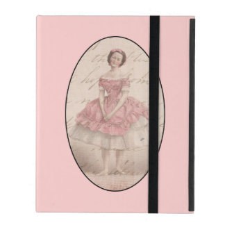 Vintage Ballerina Girl in a Pink Tutu iPad Covers