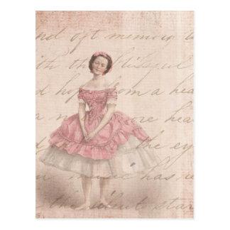 Vintage Ballerina Girl in a Pink Tutu Postcard