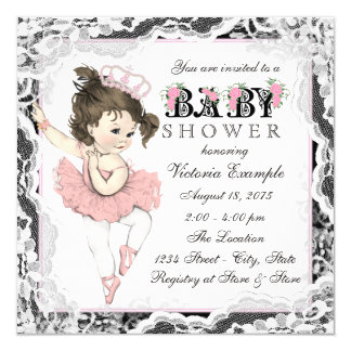 Vintage Ballerina Lace Pink and Black Baby Shower 5.25x5.25 Square Paper Invitation Card