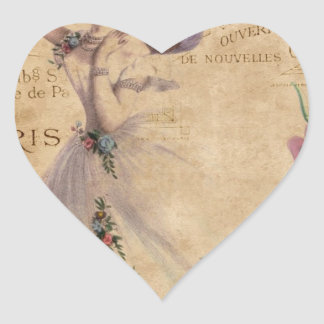 Vintage Ballerina on Ephemera background. Heart Sticker